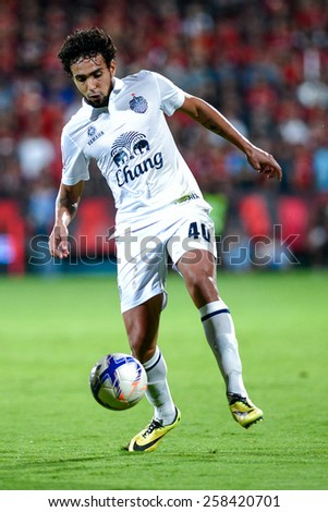 NONTHABURI THAI-FEB 21:Diogo Luis Santo of Buriram Utd.controls the ball playing during Thai Premier League between SCG Muangthong UTD. and Buriram UTD.at SCG Stadium on February 21,2015 in,Thailand - stock photo