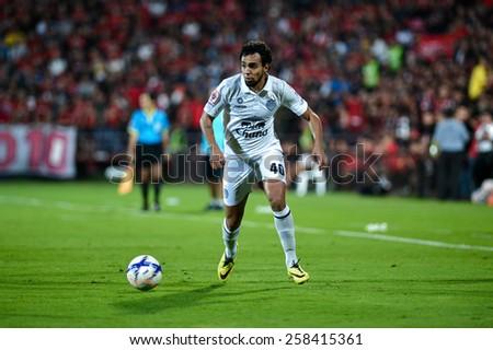 NONTHABURI THAI-FEB 21:Diogo Luis Santo of Buriram Utd.in action during Thai Premier League 2015 between SCG Muangthong UTD. and Buriram UTD.at SCG Stadium on February 21,2015 in,Thailand - stock photo