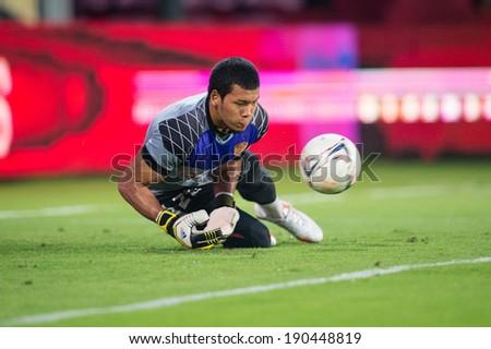 NONTHABURI THAILAND-APR19:Goalkeeper Kawin Thamsatchanan of Muangthong Utd.during a training ahead Thai Premier League between Muangthong Utd.and Chiangrai Utd.at SCG Stadium on April 19,2014,Thailand - stock photo