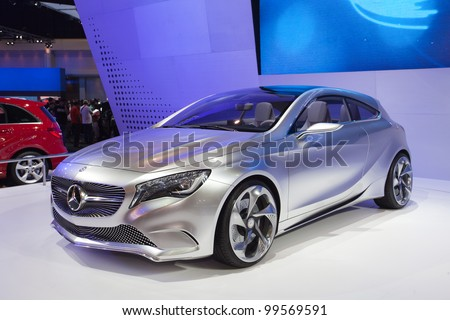 NONTHABURI, THAILAND - APRIL 08: The Mercedes-Benz Concept A-class in the 33rd Bangkok International Motor Show on April 08, 2012 in Nonthaburi, Thailand. - stock photo