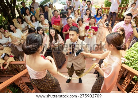 NONTHABURI THAILAND - April 26: Wedding ceremony Apr 26, 2015 , in Nonthaburi,Thailand. - stock photo