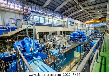 NONTHABURI, THAILAND - AUG 05: KUBOTA pumps and MEIDEN Motors is use for pumping water supply on 05 August 2015 in Bangkhen water treatment plant, Bangkok,  Thailand.