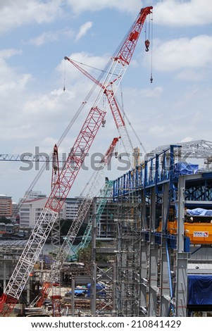NONTHABURI -THAILAND - AUGUST 12 : Construction of EGAT's North Bangkok gas combine cycle power plant 800 MW on August 12, 2014 in Nonthaburi, Thailand