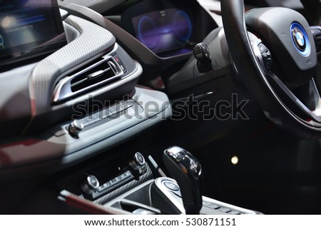 NONTHABURI, THAILAND -DEC 01, 2016 ; Interior of BMW i8 on display the  MOTOR  EXPO 2016 at IMPACT Arena, Muang Thong Thani on December 01, 2016 in Nonthaburi, Thailand.