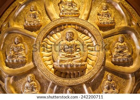 NONTHABURI, THAILAND - December 27: Buddha statues Wat Borom Racha Kanchana Phisake (Wat Leng Noei Yi 2) on December 23, 2014 in Thailand.  - stock photo