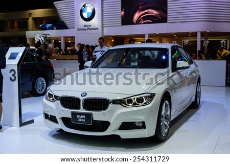 NONTHABURI, THAILAND - DECEMBER 8: The BMW 325d is on display at the 31st Thailand International Motor Expo 2014 on December 8, 2014 in Nonthaburi, Thailand.