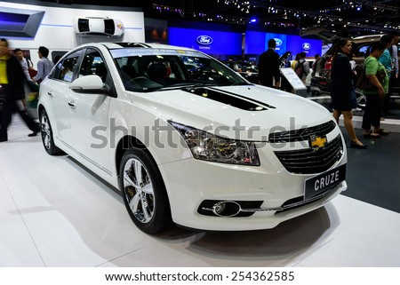 NONTHABURI, THAILAND - DECEMBER 8: The Chevrolet Cruze is on display at the 31st Thailand International Motor Expo 2014 on December 8, 2014 in Nonthaburi, Thailand. - stock photo