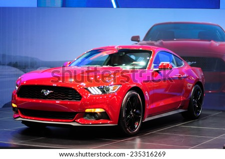 NONTHABURI, THAILAND - December 01: The Ford Mustang is on display at Thailand International Motor Expo 2014 on December 01, 2014 in Nonthaburi, Thailand. - stock photo