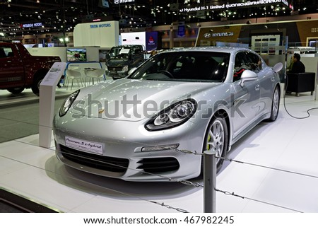 NONTHABURI, THAILAND - DECEMBER 8: The Porsche Paramera S e-hybrid is on display at the 32nd Thailand International Motor Expo 2015 on December 8, 2015 in Nonthaburi, Thailand.