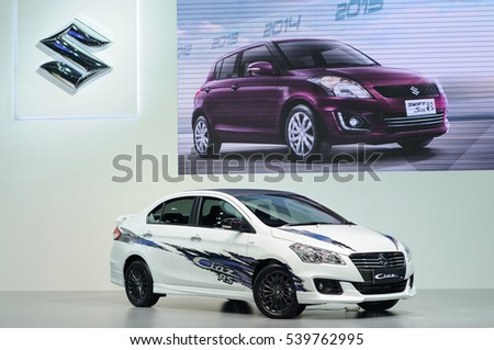 NONTHABURI, THAILAND - December 06: The Suzuki Ciaz RS Sedan is on display at Thailand International Motor Expo 2016 on December 06, 2016 in Nonthaburi, Thailand.