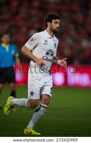 NONTHABURI THAILAND-FEBRUARY 21:	Andres Tunez no.5 of Buriram United  in action during Thai Premier League between Muangthong Utd.and Buriram United at SCG Stadium on Feb 21, 2015,Thailand - stock photo