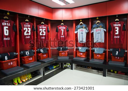 NONTHABURI THAILAND-FEBRUARY 21:	Athletic dressing rooms team of Muangthong Utd during Thai Premier League between Muangthong Utd.and Buriram United at SCG Stadium on Feb 21, 2015,Thailand - stock photo