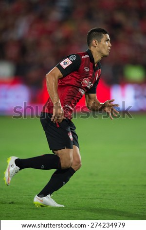 NONTHABURI THAILAND-FEBRUARY 21:Cleiton Silva of  Muangthong Utd. in action during Thai Premier League between Muangthong Utd.and Buriram United at SCG Stadium on Feb 21, 2015,Thailand - stock photo