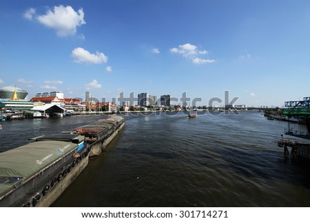 NONTHABURI -THAILAND - FEBRUARY 22 : Landscape and boat transportation in Chaophraya river of Thailand on Feb 22, 2015 in Nonthaburi province, Thailand