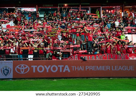 NONTHABURI THAILAND-FEBRUARY 21:Unidentified fan Muangthong utd. supporters during Thai Premier League between Muangthong Utd.and Buriram United at SCG Stadium on Feb 21, 2015,Thailand - stock photo
