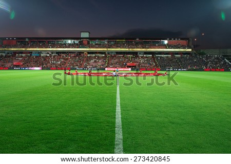 NONTHABURI THAILAND-FEBRUARY 21:Views of SCG stadium during Thai Premier League between Muangthong Utd.and Buriram United at SCG Stadium on Feb 21, 2015,Thailand - stock photo
