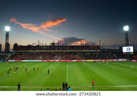 NONTHABURI THAILAND-FEBRUARY 21:Views sunset SCG Stadium during Thai Premier League between Muangthong Utd.and Buriram United at SCG Stadium on Feb 21, 2015,Thailand - stock photo