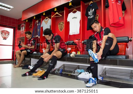 NONTHABURI-THAILAND JAN 28:Chanathip Songkrasin(R)in action during press conference as a new players for Muangthong United at SCG Stadium on January 28,2016 in Thailand