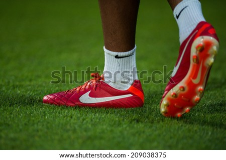 NONTHABURI THAILAND-Jul30:Details of Soccer shoes during the LFP World Challenge 2014 between SCG Muangthong UTD. and Almeria at SCG Stadium on July30,2014,Thailand - stock photo