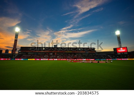 NONTHABURI THAILAND-Jul02:Panoramic View sunset of SCG Stadium during  the Toyota League Cup between SCG Muangthong Utd and Buriram United at SCG Stadium on July02,2014,Thailand