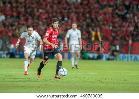 NONTHABURI,THAILAND-JULY 24 : Cleiton Silva player of SCG Muangthong United in action during the game between SCG Muangthong United (R) and Buriram FC (W) at SCG Stadium on July 24, 2016 in,Thailand.
