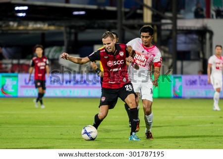 NONTHABURI,THAILAND-JULY 25: Mario Gjurovski(No.20) The player of SCG Muangthong UTD in action between the game MTUTD and Saraburi FC on July 25,2015 in Thailand.