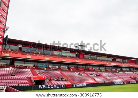NONTHABURI,THAILAND-JULY 25: The landscape of SCG Stadium before the game between SCG Muangthong United and Saraburi FC on July 25,2015 in Thailand.