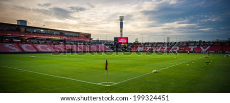 NONTHABURI THAILAND-JUN14: View twilight of SCG Stadium during aThai Premier League between SCG Muangthong Utd and Osotspa M-150 Saraburi F.C. at SCG Stadium on June 14,2014,Thailand - stock photo