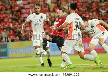 NONTHABURI,THAILAND-June 25 : Pedro Mario Alvarez of MTUTD in action during the game between SCG Muangthong United and Nakhonratchasima FC at SCG Stadium on June 25, 2016 in,Thailand. - stock photo