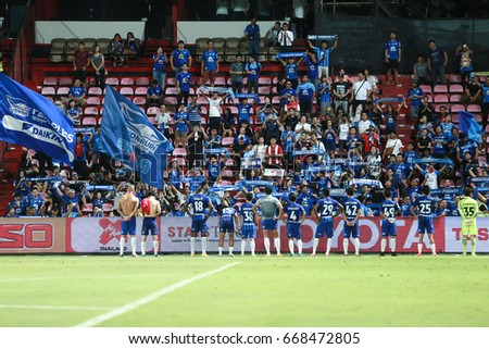NONTHABURI,THAILAND-JUNE 28 : The fanclub of Chonburi FC during the game between SCG Muangthong United and Chonburi FC at SCG Stadium on June 28, 2017 in,Thailand.
