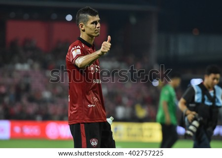 NONTHABURI-THAILAND MAR9:Cleiton Silva of Muangthong Utd in action during Thai Premier League 2016 Muangthong Utd and Bangkok Glass FC at SCG Stadium on March 9,2016 in Nonthaburi,Thailand - stock photo