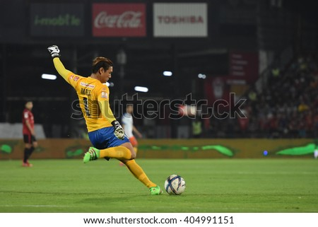 NONTHABURI-THAILAND MAR9:Narit Taweekul of Bangkok Glass FCin action during Thai Premier League 2016 Muangthong Utd and Bangkok Glass FC at SCG Stadium on March 9,2016 in Nonthaburi,Thailand - stock photo