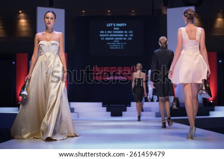 NONTHABURI THAILAND- MARCH 12: A model walks the runway at the Let's Party show during BIFF&BIL Bangkok international Fashion Fair 2015 at IMPACT Challenger Hall on March 12,2015 in,Thailand - stock photo