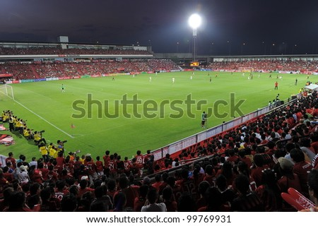 NONTHABURI THAILAND-March17:Crowd of people in  SCG Stadium during the match Thai Premier League between SCG MuangThong utd.and BEC Tero on March17,2012 in SCG Stadium Thailand - stock photo