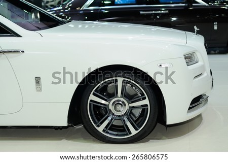 NONTHABURI, THAILAND - March 25: Details of the Rolls Royce Ghost Extended Wheelbase on display during The 36th Bangkok International Motor Show on March 25, 2015 in Nonthaburi, Thailand. - stock photo