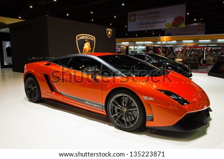 NONTHABURI, THAILAND - MARCH 26 : Lamborghini Gallardo LP 570-4 Superleggera Edizione Tecnica showed in 34th Bangkok International Motor Show on March 26, 2013 in Nonthaburi, Thailand. - stock photo