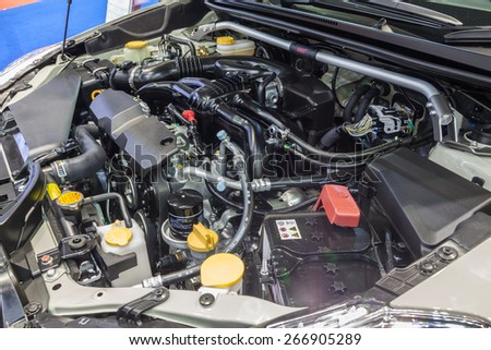 Nonthaburi,Thailand - March 26th, 2015: Engine of Subaru sedan,showed in Thailand the 36th Bangkok International Motor Show on 26 March 2015 - stock photo