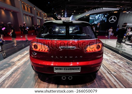 Nonthaburi,Thailand - March 24th, 2015: Mini booth with Mini clubman ,showed in Thailand the 36th Bangkok International Motor Show on 24 March 2015