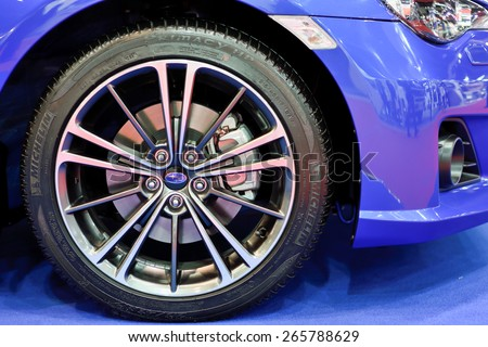 Nonthaburi,Thailand - March 24th, 2015: Subaru automobile ,showed in Thailand the 36th Bangkok International Motor Show on 24 March 2015 - stock photo