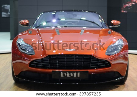 NONTHABURI, THAILAND - March 28: The Aston Martin DB11 is on display at The 37th Bangkok International Motor Show on March 28, 2016 in Nonthaburi, Thailand.