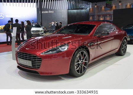 NONTHABURI, THAILAND - MARCH 24: The Aston Martin Rapide S is on display at the 36th Bangkok  International Motor Show 2015 on March 24, 2015 in Nonthaburi, Thailand.