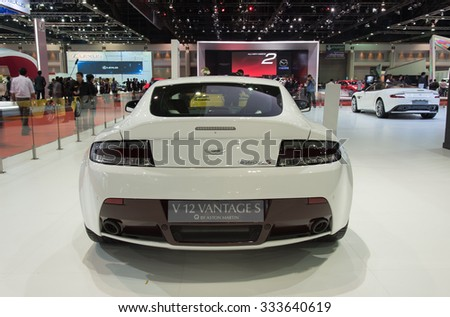 NONTHABURI, THAILAND - MARCH 24: The Aston Martin V12 Vantage S is on display at the 36th Bangkok International Motor Show 2015 on March 24, 2015 in Nonthaburi, Thailand.