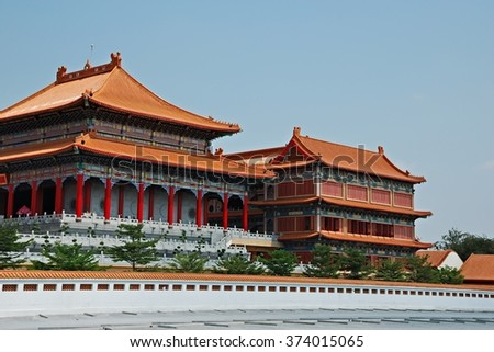 Nonthaburi, Thailand - March 15, 2015: The Biggest Chinese Temple at Wat Borom Raja Kanjanapisek (Wat Leng Neur Yee 2) .