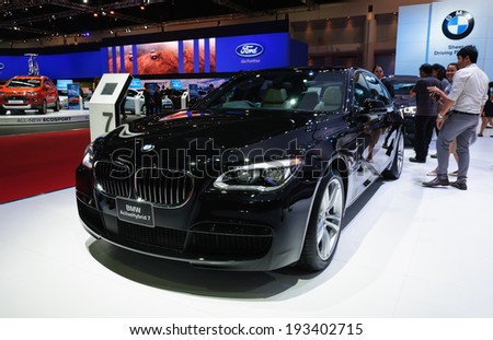 NONTHABURI, THAILAND - MARCH 31:The BMW ActiveHybrid 7 is on display at the 35th Bangkok International Motor Show 2014 on March 31, 2014 in Nonthaburi, Thailand.