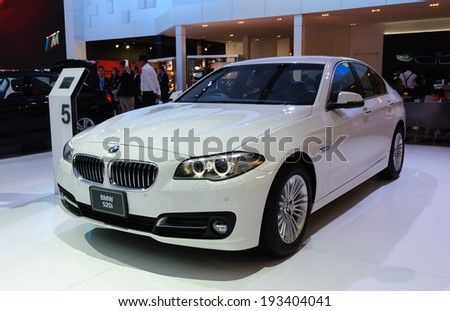 NONTHABURI, THAILAND - MARCH 31:The BMW 520i is on display at the 35th Bangkok International Motor Show 2014 on March 31, 2014 in Nonthaburi, Thailand.
