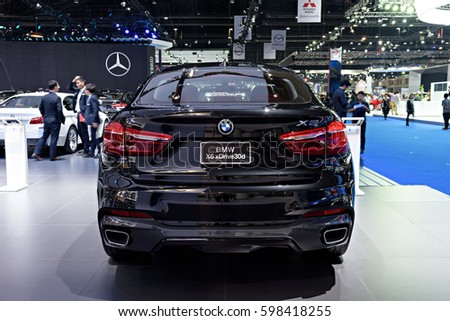 NONTHABURI, THAILAND - MARCH 22: The BMW X6 xDrive 30d is on display at the 37th Bangkok International Motor Show 2016  on March 22, 2016 in Nonthaburi, Thailand.