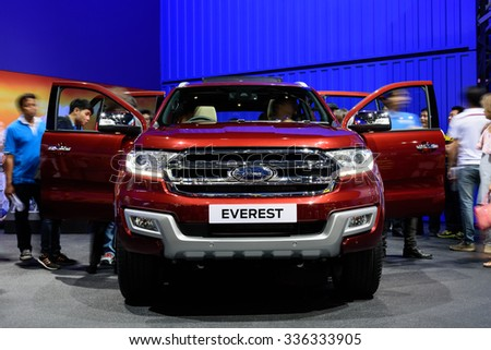 NONTHABURI, THAILAND - MARCH 30: The Ford Everest is on display at the 36th Bangkok International Motor Show 2015 on March 30, 2015 in Nonthaburi, Thailand.