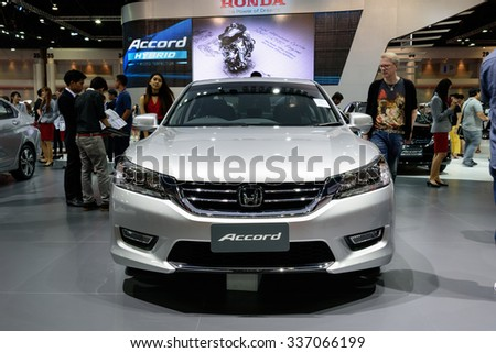 NONTHABURI, THAILAND - MARCH 30: The Honda Accord is on display at the 36th Bangkok International Motor Show 2015 on March 30, 2015 in Nonthaburi, Thailand.