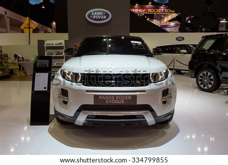 NONTHABURI, THAILAND - MARCH 30: The Land Rover Range Rover Evoque is on display at the 36th Bangkok International Motor Show 2015 on March 30, 2015 in Nonthaburi, Thailand. - stock photo