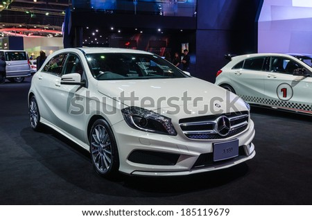 NONTHABURI, THAILAND - MARCH 25: The Mercedes Benz A180 AMG Sport is on display at the 35th Bangkok International Motor Show 2014 on March 25, 2014 in Nonthaburi, Thailand.